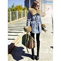 Women's Fur Collar Fleece Denim Coat – USD $ 82.59