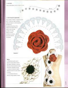 Crochet con flores en telar 05 - judith colmenares - Álbuns da web do Picasa Loom Crochet, Crochet Brooch, Crochet Gloves, Thread Crochet, Crochet Scarves, Crochet Motif, Hand Crochet, Crochet Necklace, Crochet Flower Tutorial