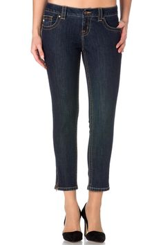 "Dark Blue Mid-Rise Crop Skinny Jeans Inseam 25 "". Zipper inset on outside of legs.  Zip Jean by Miss Me. Clothing - Bottoms - Jeans & Denim Tennessee"
