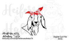 Bandana Goat digital cut file for cricut and silhouette great Kids Silhouette, Shops, Farm Life, Cricut Design, Cutting Files, Goats, Embroidery, Digital, Bandana