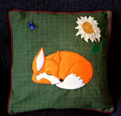Animal applique decorative cushion cover by NaturelandsAndCo