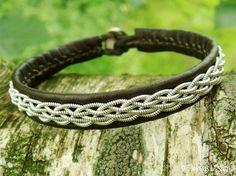 DAIN Norse Viking Sami Bracelet Custom Handmade Olive Army Green Reindeer Leather Unisex Wristband Tin Thread Embroidered - Nordic Spirit by Tjekijas Design.