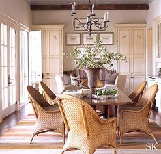 The Dining Room will now be located where the family room currently exists. It will measure the same at x This room is a great . Lakeside Dining, Casual Dining Rooms, Blue Ceilings, Ceiling Beams, Dining Room Inspiration, Rug Inspiration, Cool Stuff, Dining Room Design, Beautiful Homes