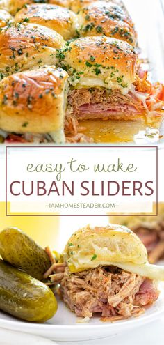 Cuban Sliders make a great crowd-pleasing holiday appetizer! This filling and sa. Cuban Sliders make a great crowd-pleasing holiday appetizer! This filling and satisfying finger foo Cuban Sliders, Cuban Sandwich, Sliders Burger, Burgers, Finger Food Appetizers, Appetizers For Party, Appetizer Recipes, Easy Food For Party, Easy Holiday Appetizers