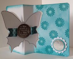 Craftwork Cards Butterfly twister card coloured using ink pads and stamped.  Image shows inside of card..  Card designed by Julie Hickey