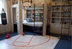 Cool Boys Bedroom Ideas with Basketball Theme