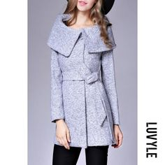 #Luvyle - #Luvyle Fold-Over Collar Belt Woolen Coat - AdoreWe.com