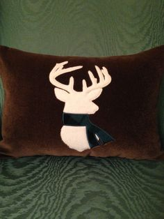 Deer Head/Antlers Silhouette with Scarf Pillow by DoWahDiddies