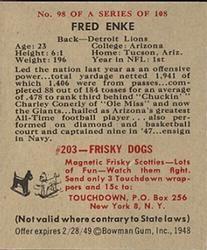 1948 Bowman #98 Fred Enke Back