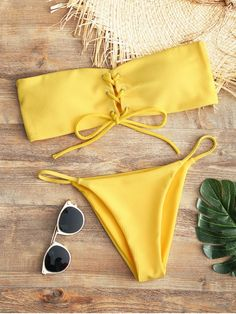 Shop for Bandeau Lace Up Bikini Top and Thong Bottoms YELLOW: Bikinis S at ZAFUL. Only $15.49 and free shipping!