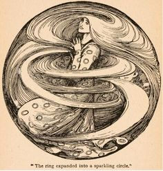 "Fairy tales of Hans Andersen (1908) Illustrated by Helen Stratton; ""The ring expanded into a sparkling circle""."