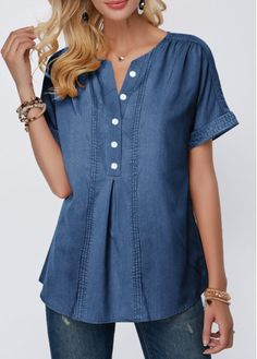 Shop Womens Fashion Tops, Blouses, T Shirts, Knitwear Online Denim Blouse, Denim Top, How To Roll Sleeves, Short Sleeve Blouse, Blouses For Women, Knitwear, Jeans, Tunic Tops, Casual