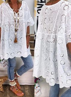 Plus Size Solid Casual V-Neckline Sleeves Blouses - White L - Herren- und Damenmode - Kleidung Boho Fashion, Fashion Dresses, Womens Fashion, Fashion Trends, Dresses Dresses, Fashion Blouses, Plus Size Blouses, Plus Size Dresses, Vetement Hippie Chic