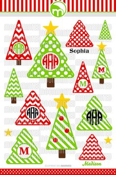 Christmas Tree SVG Cut Files - Monogram Frames for Vinyl Cutters, Screen Printing, Silhouette, Die Cut Machines, & More