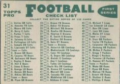 1960 Topps #31 Cleveland Browns Back