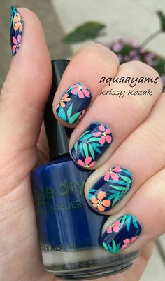 Tropical flowers nail art. Reminds me of Golden Girls 😊