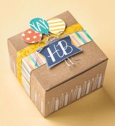 The Balloon Bash stamp set is perfect for decorating gift boxes to make a birthday present even more special.