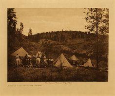 Author's camp among the Spokan, 1910. Photogravure.