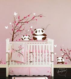 Wall Decal Sticker Pandas Having Fun in Cherry Blossom Field - dd1029 — Removable Wall Decals & Stickers by My Friend Matilda