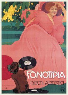 Artista Marcello Dudovich, pubblicità per Fonotipia, 1906 Italy