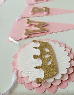 Banner de bienvenida princesa Baby Shower Bandera de Glitter