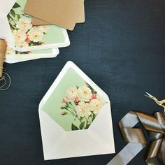 mint floral envelope inserts