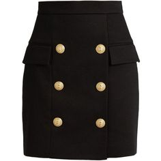 Balmain Black Heavy Cotton Button Front Mini Skirt ($1,600) ❤ liked on Polyvore featuring skirts, mini skirts, black, button front skirt, mini skirt, balmain, embellished mini skirt and short skirts