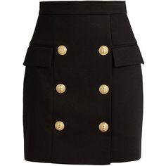 Balmain Black Heavy Cotton Button Front Mini Skirt ($900) ❤ liked on Polyvore featuring skirts, mini skirts, bottoms, black, mini skirt, balmain, zipper skirt, cotton mini skirt and cotton skirts