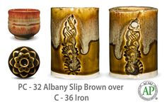 Like the traditional potter's glaze that inspired it, Albany Slip Brown is fluid and butter colored where thick and russet where thin. Great layered over or under other Potter's Choice glazes.