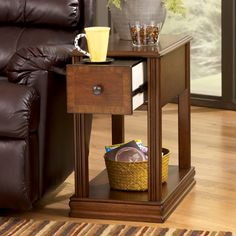 Shop Ashley Furniture Brown Wood Chairside Table with great price, The Classy Home Furniture has the best selection of End Tables to choose from Furniture, Coffee And End Tables, Table Furniture, Ashley Furniture, Chair Side Table, End Tables, End Tables With Drawers, Contemporary Chairs, Living Room Table
