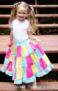 Little Christian girl in a stylish modest skirt.  Modest doesn't have to mean dowdy!