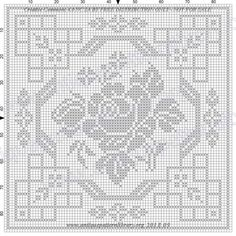 ru / Filet pattern with dog - Filet pattern - gabbach Crochet Patterns Filet, Crochet Tablecloth Pattern, Crochet Diagram, Crochet Squares, Zentangle Patterns, Crochet Doilies, Crochet Lace, Cross Stitching, Cross Stitch Embroidery