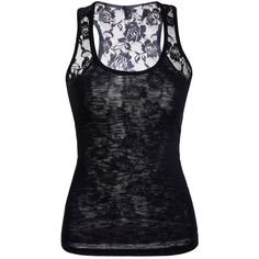 Stylish Scoop Neck Lace Splicing Black Tank Top For Women (€19) ❤ liked on Polyvore featuring tops, shirts, lace top, scoopneck top, lace tank, lace tank top and scoopneck tank