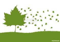 Vektor: Baum mit fallenden Blätter im Herbst
