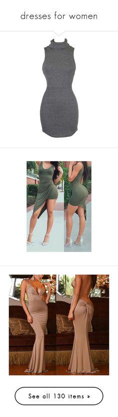 """dresses for women"" by ebony-kayla ❤ liked on Polyvore featuring dresses, criss cross back dress, cross back dress, gray mini dress, grey mini dress, grey dress, army green, sexy mini dress, olive dress and sexy sheath dress"