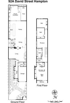 David Street, Hampton, Vic View property details and sold price of David Street & other properties in Hampton, Vic Narrow House Designs, Narrow House Plans, New House Plans, Smart House, Ideal House, Victorian House Plans, Victorian Homes, Tiny House Village, Floor Plan Layout