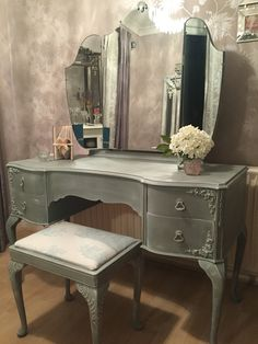 Dressing Table in Annie Sloan Duck Egg and Old White, appliqués from Chic Mouldings #anniesloan #notjustchalkpaint #chalkpaint #chicmouldings