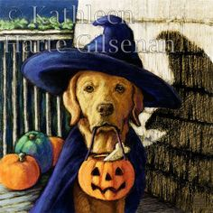 Yellow Labrador Retriever Halloween Witch 8x8 by MaddieLabStudio, $35.00  How do you get the most candy? Why, be the cutest witch, of course!