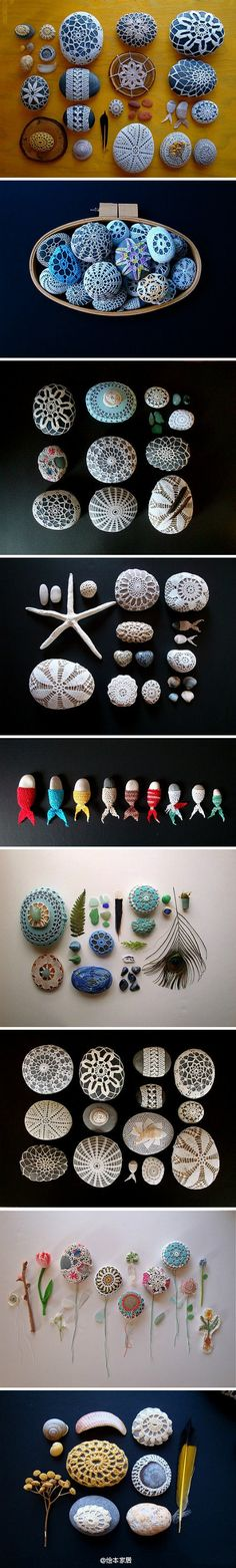 These are glorious! I would totally collect stones next time I'm at a beach!! Wonder if these are all crocheted or if I can use some kind of colored craft glue to achieve the same effect.