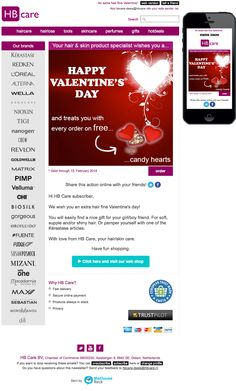 Email Newsletter Template. Receive a ♥ ♥ ♥ Valentine's gift today with your hair and/or skin product. Sent on Februaru 14, 2016.