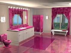 Awesome pink bathroom