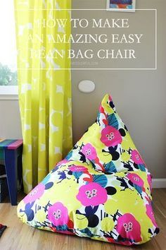 painted chairs - How to Make an Amazing Easy Bean Bag Chair Live Colorful Diy Dorm Decor, Home Decor, Bedroom Decor, Diy Bean Bag, Kids Bean Bags, Patterned Chair, Diy Chair, Diy Beanbag Chair, Floor Cushions