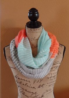 Aqua And Orange Color Block Stripe Infinity Scarf, Light Weight Scarves, Spring Scarves, Women's Accessories, Infinity Scarves on Etsy, $19.34 CAD