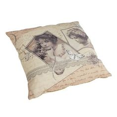 Kussen Calmus. Sierkussen met nostalgische fotoprint. Kleur Roze. 45 x 45 cm. €22.95