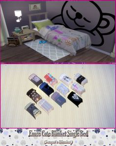 Enure Cute Blanket Single Bed at Enure Sims via Sims 4 Updates
