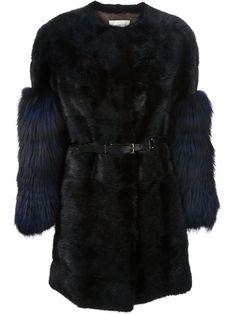 Yves Salomon Contrasting Sleeves Fur Coat - - Farfetch.com