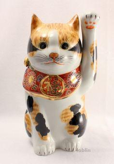 Photo2: Japanese Lucky Cat Kutani yaki ware Porcelain Maneki Neko mikeneko H27.5cm