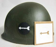 The 82'd Airborne Division use of stencils was sporadic until after WW2. From information available we think this is the closest match to a third battalion stencil. Black circle with forward facing arrow.   This can be hand or spray painted and is easy to apply.  www.warhats.com