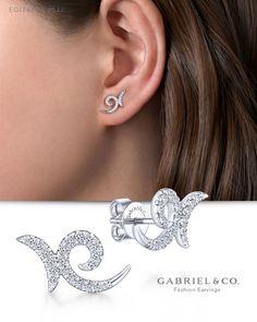 Finejewelers Sterling Silver Cubic Zirconia Pave Black Enamel Square Post Earrings
