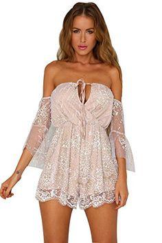 dff818c7082e Amazon.com  RUIGO Women s Lace Sexy Open Back Hollow Out Boho Playsuit  Jumpsuit Romper Dress  Clothing